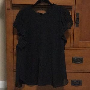 Ann Taylor black pleated flowy blouse